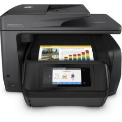 HP Tintasugaras MFP NY/M/S/F Officejet Pro 8725  e-AiO, USB/Háló/WLAN/NFC, A4 24l/p FF(ISO), 4800x1200, Síkágyas, ADF